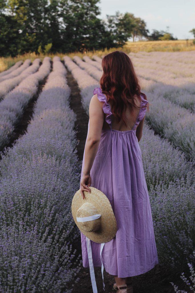 Eine Frau steht mit lila Kleid in einem Lavendelfeld und möchte gerne ihre Berufung finden.